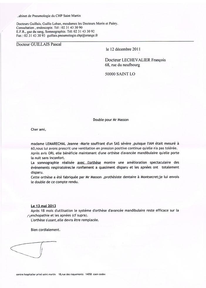 Recommandation du docteur Guillais